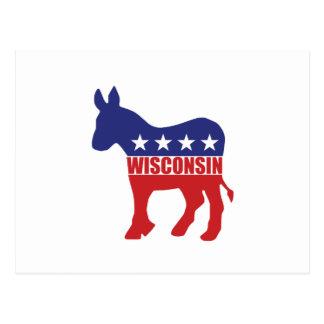 Wisconsin Democrat Donkey Postcard