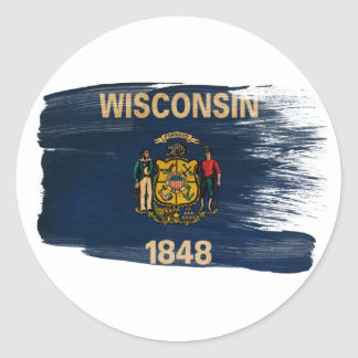Wisconsin Flag Classic Round Sticker