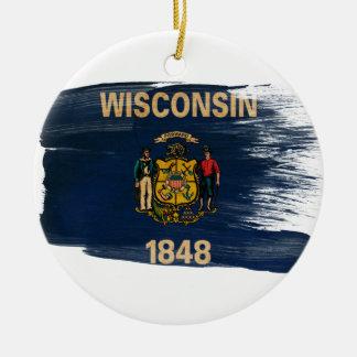 Wisconsin Flag Round Ceramic Decoration