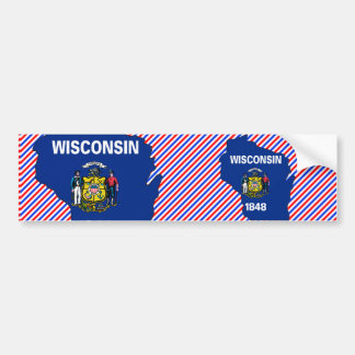 Wisconsin Flag Map Bumper Sticker