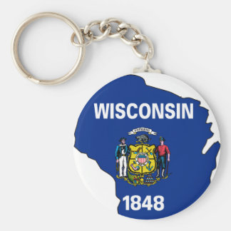 Wisconsin Flag Map Key Ring