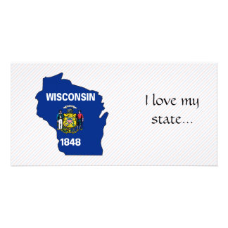 Wisconsin Flag Map Personalised Photo Card
