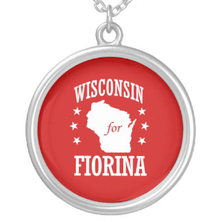 WISCONSIN FOR FIORINA ROUND PENDANT NECKLACE