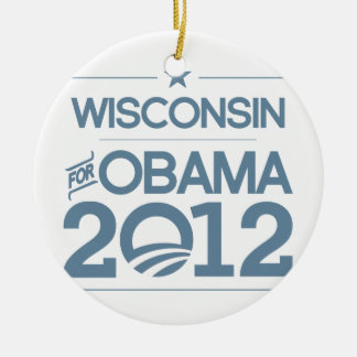 WISCONSIN FOR OBAMA 2012.png Christmas Ornament