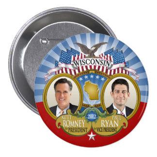 Wisconsin for Romney Ryan - Double Photo 7.5 Cm Round Badge