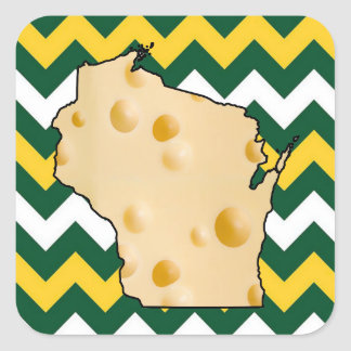 Wisconsin Green and Gold Cheese Head Stickers