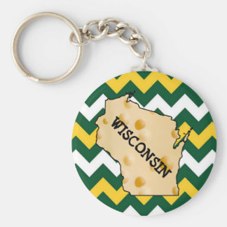Wisconsin Green and Gold Football Cheesehead Key Ring