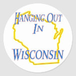 Wisconsin - Hanging Out Round Stickers