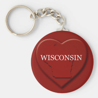 Wisconsin Heart Map Keychain