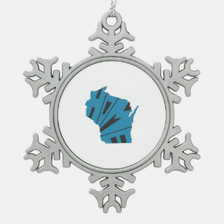 Wisconsin Home State Snowflake Pewter Christmas Ornament