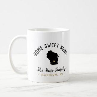 Wisconsin Home Sweet Home Family Monogram Mug