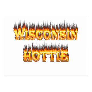Wisconsin hottie fire and flames pack of chubby business cards
