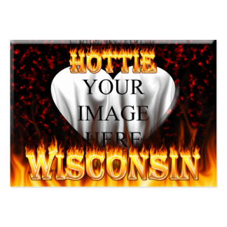 Wisconsin Hottie fire and red marble heart. Pack Of Chubby Business Cards