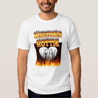 Wisconsin Hottie fire and red marble heart. Tee Shirt