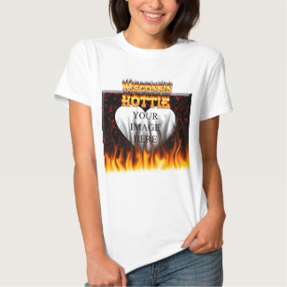 Wisconsin Hottie fire and red marble heart. Tees