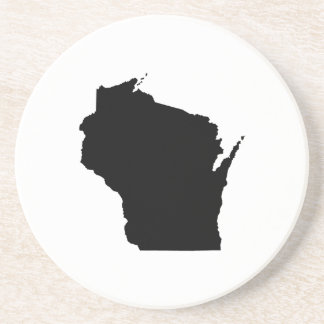 Wisconsin in Black Beverage Coasters