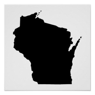 Wisconsin in Black Poster