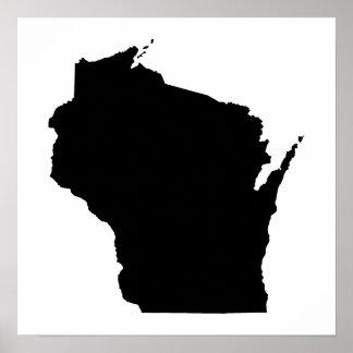 Wisconsin in Black Poster