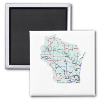 Wisconsin Interstate Map Magnet