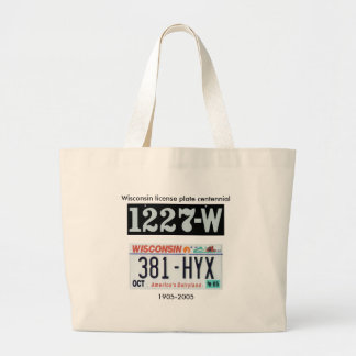 Wisconsin License Plate Centennial Canvas Bag