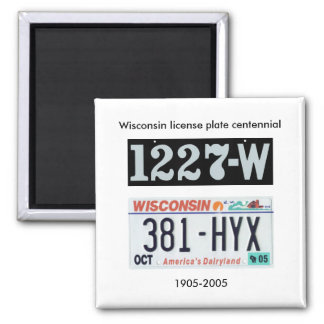 Wisconsin license plate centennial square magnet