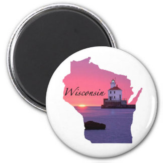Wisconsin Lighthouse 6 Cm Round Magnet