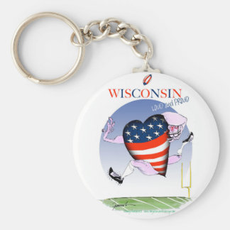 wisconsin loud and proud basic round button key ring