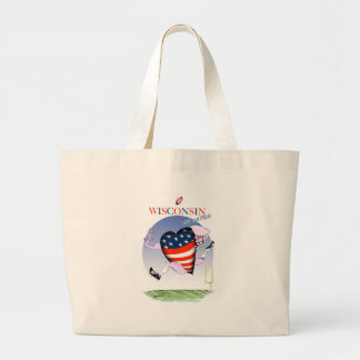 wisconsin loud and proud large tote bag