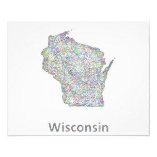 Wisconsin map 11.5 cm x 14 cm flyer