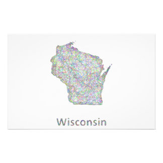 Wisconsin map 14 cm x 21.5 cm flyer