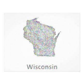 Wisconsin map 21.5 cm x 28 cm flyer