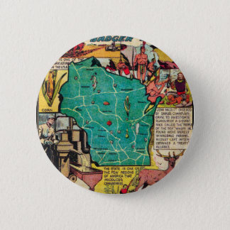 Wisconsin Map and Facts 6 Cm Round Badge