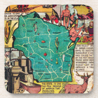 Wisconsin Map and Facts Coaster