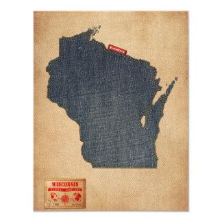 Wisconsin Map Denim Jeans Style 11 Cm X 14 Cm Invitation Card