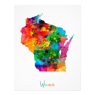 Wisconsin Map 21.5 Cm X 28 Cm Flyer