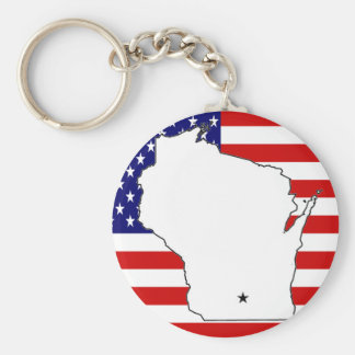 WISCONSIN MAP KEY RING