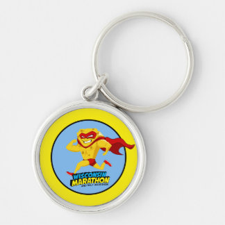 Wisconsin Marathon Race Day Silver-Colored Round Key Ring