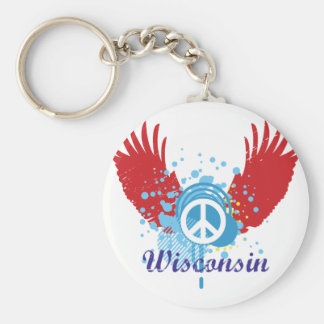 Wisconsin Peace Sign Key Ring