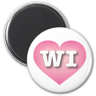 Wisconsin pink fade heart 6 cm round magnet