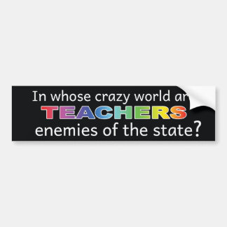 Wisconsin Pro-Teacher Sticker - Black Bumper Sticker