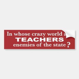 Wisconsin Pro-Teacher Sticker - Red Bumper Sticker