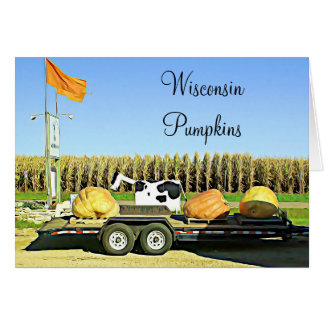 Wisconsin Pumpkins and Dairy Cow Halloween Card