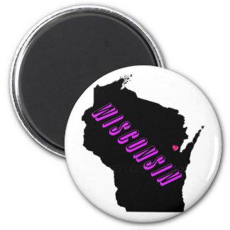 Wisconsin purple black 6 cm round magnet