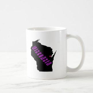 Wisconsin purple black basic white mug