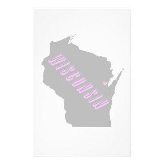 Wisconsin purple black personalized stationery