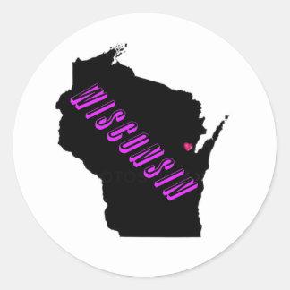 Wisconsin purple black round sticker