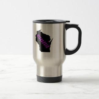 Wisconsin purple black stainless steel travel mug