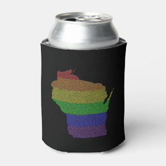 Wisconsin Rainbow Pride Flag Mosaic Can Cooler