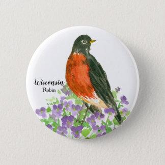 Wisconsin Robin State Bird 6 Cm Round Badge