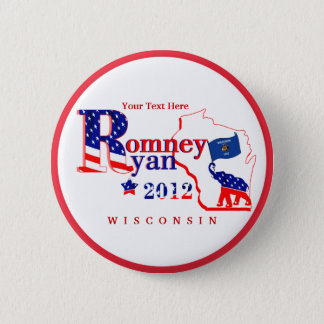 Wisconsin Romney and Ryan 2012 Button  Customize 2